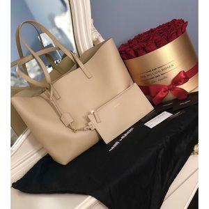 Authentic SAINT LAURENT Shopping Tote Bag Beige